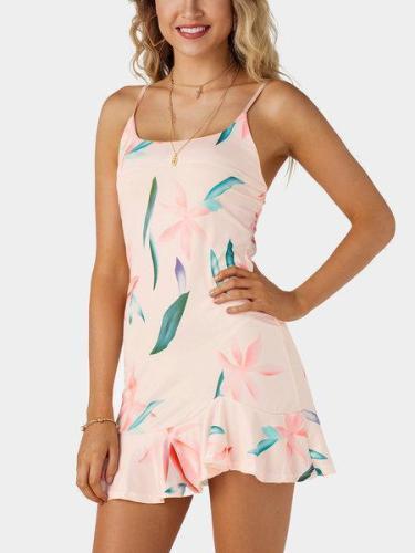 Random Floral Print Scoop Neck Sleeveless Mini Dress