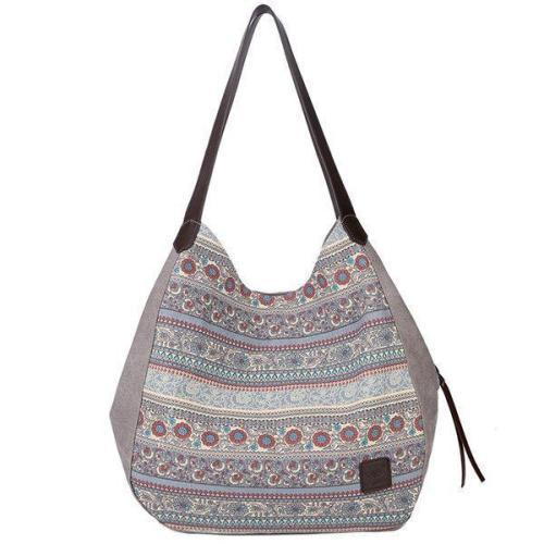 Women Canvas Bohemian Print Tote Bag Handbag Shoulder Bag