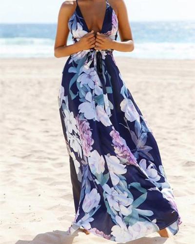 Popular Cotton Floral Printed Off Back Deep V Neck Maxi Dress