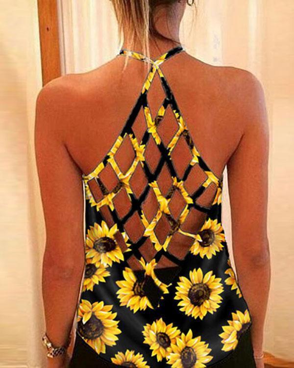 Women Sunflower Sexy Tanks