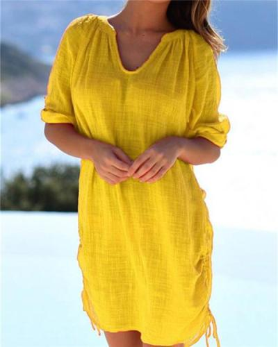 Women's Half Sleeve Cotton Linen V Neck Solid Casual Mini Dress