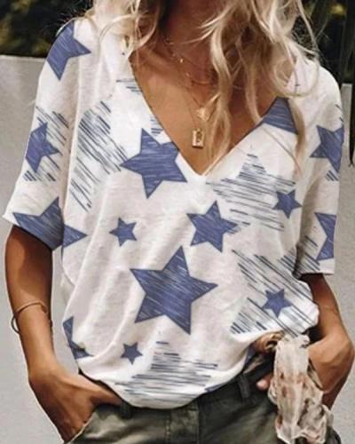 Cotton Pentagram Printed V-neck T-shirt