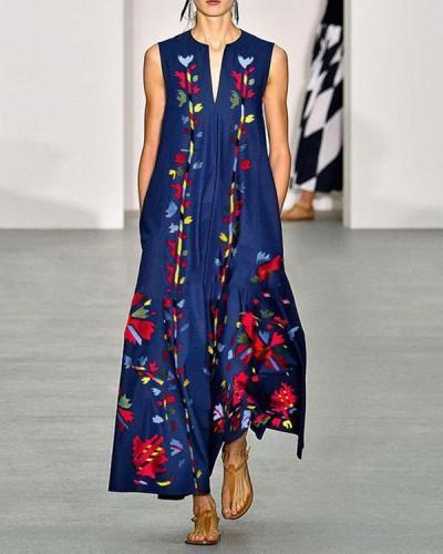 Fashion Floral Printed V-Neck Sleeveless Maxi Dress