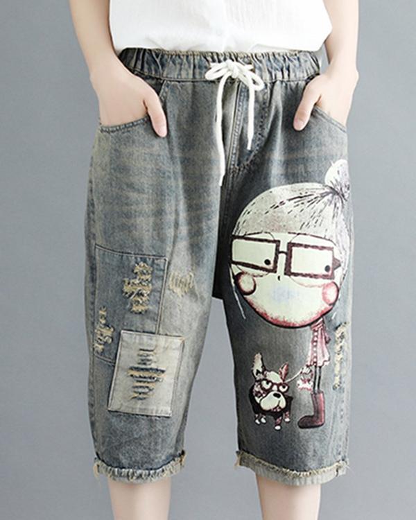 Women Cartoon Printed Casual Elastic Waist Pockets Pants
