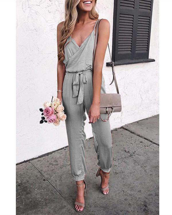 Summer Fashion Solid Sleeveless Belt Jumpsuit