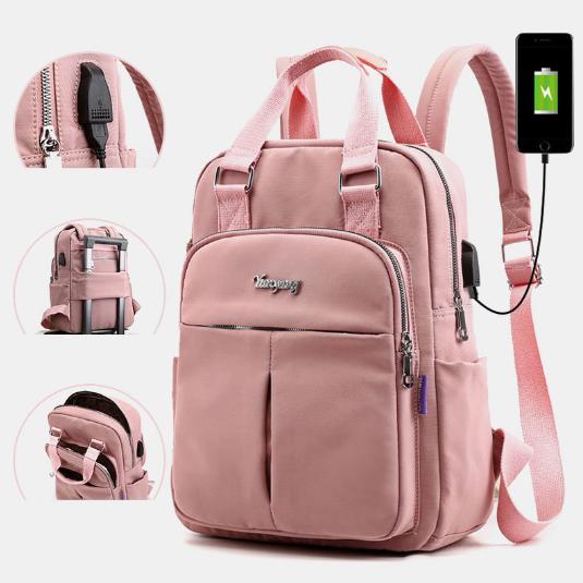 Women Canvas Multifunction Waterproof Casual Patchwork Backpack