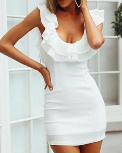 Scoop Neck Flounce Plain Bodycon Mini Dress