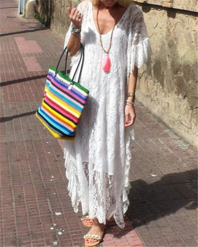 Fashion V Neck Daily Hollow Out Chic Maxi Dresses