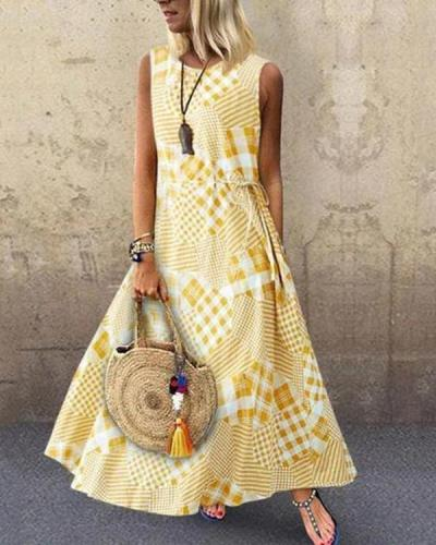 Summer Sleeveless Printed Crew Neck Maxi Dress