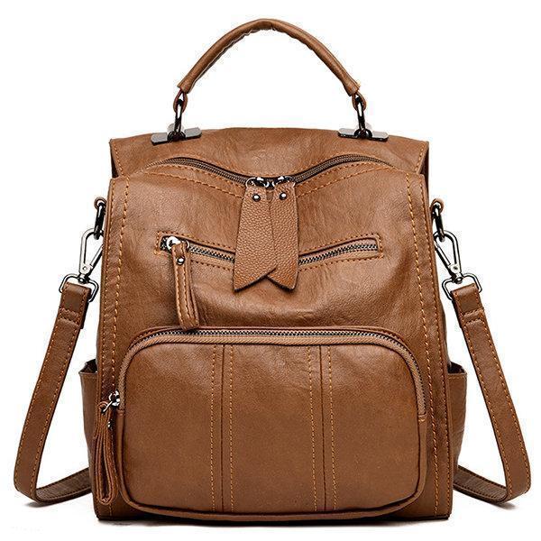 Soft PU Leather Multi-function Handbag Large Capacity Backpack