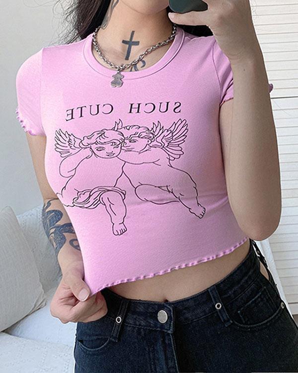 Angel Print Short Sleeve Round Neck Top Shirt
