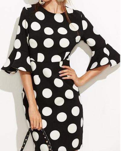 Polka Dot Bodycon Mini Dress