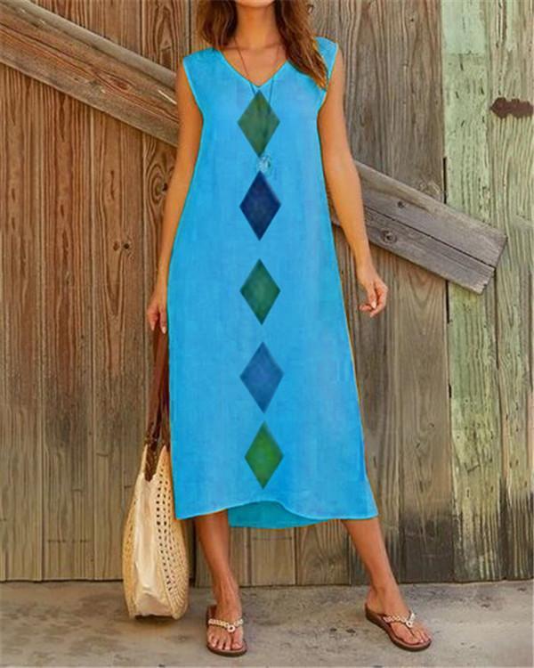 Rectangle Sleeveless Women Holiday Daily Fashion Maxi Dresses
