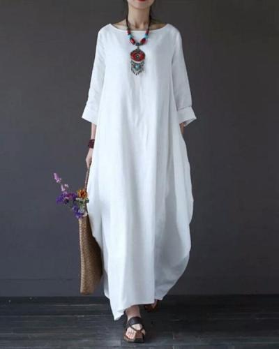 Women Plus Size  Long Sleeve Loose Casual Irregular Maxi Dress