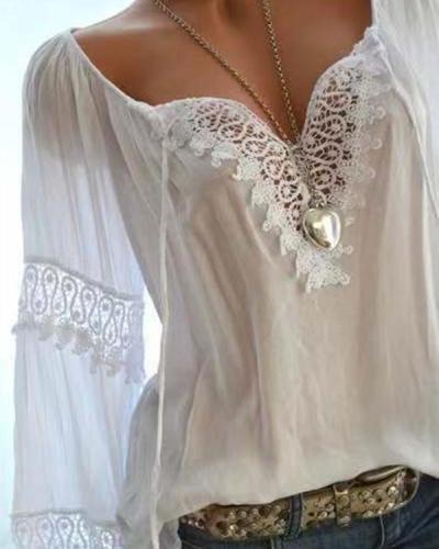 Women Casual Long Sleeve Off Shoulder Lace Plus Size Blouses Tops
