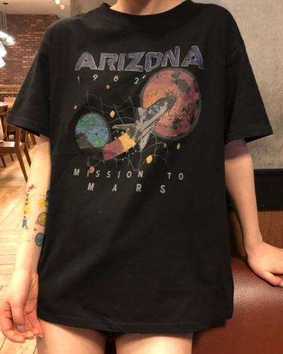 Casual Wild Space&Letter printed T-Shirt