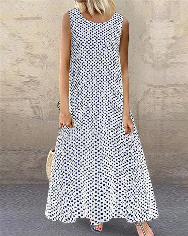 Women's Sleeveless Polka Dots Casual Fashion Daily Maxi Dress
