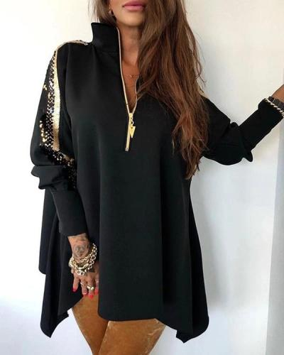 Sequins Patchwork Stand Zipper Design Blouse