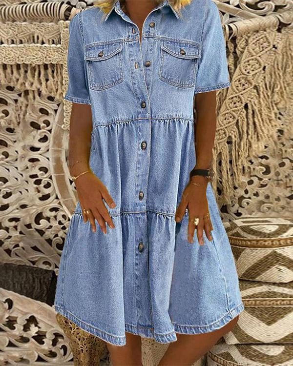 Sky Blue Denim Daily Casual Shirt Collar Short Sleeve Buttoned Pockets A-line Dresses