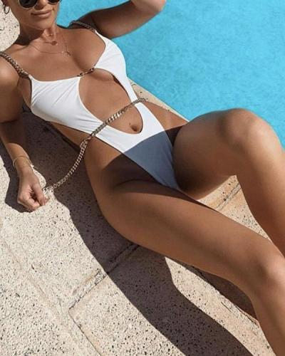 Chain Cut-Out Backless One-Piece Swimsuit