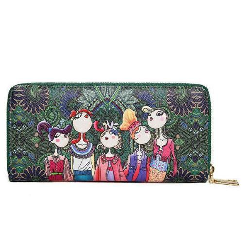 Bohemian Long Wallet Multi-Function Phone Bags 4 Card Slot Purse