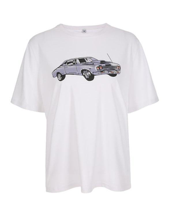 Women's Casual Car Print Loose T-Shirt