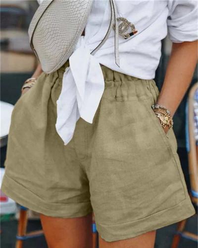 Women Summer High Waist Solid Color Shorts