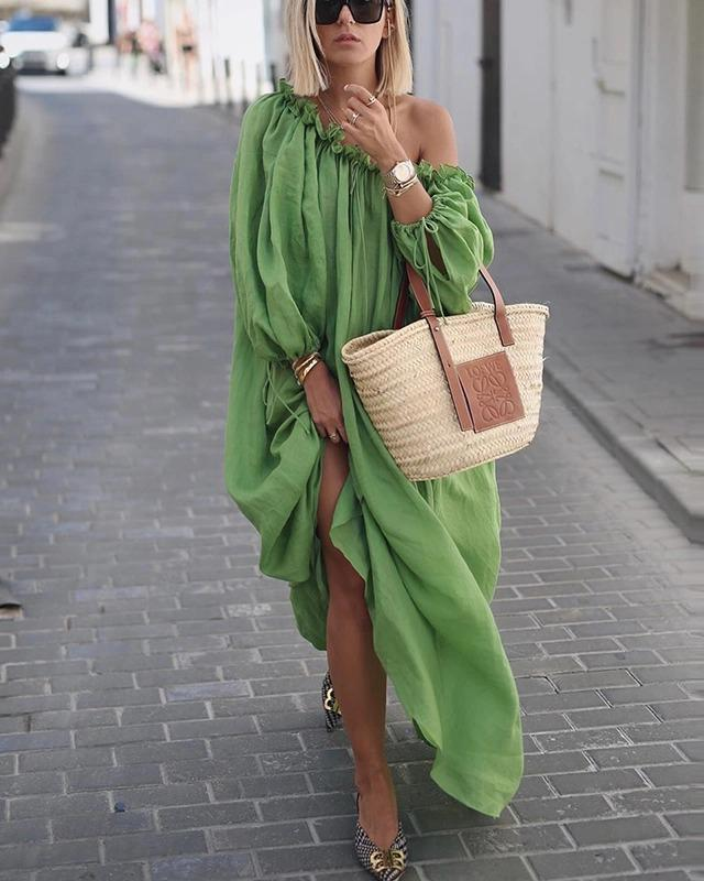 One Shoulder Street Elegant Women Fashion Maxi Dresses