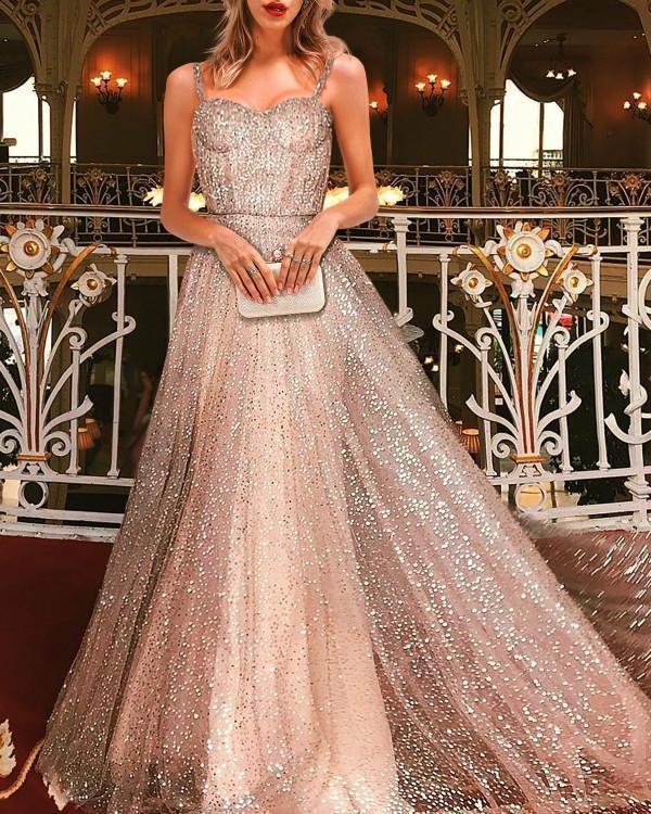 Sleeveless Ankle-Length Spaghetti Strap Maxi Dress Elegant Party Dress