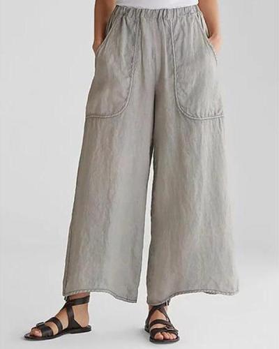 Cotton & Linen Pockets Plus Size Wide Leg Casual Pants