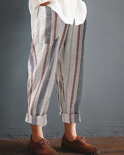 Casual Striped Pockets Cotton Linen Pants