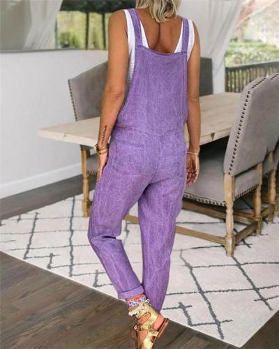 Spaghetti  Solid Purple Women Bottom Fashion Lady Jumpsuits