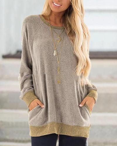 Sweater Pocket Solid  Design Casual Round Neck Shirts & Tops