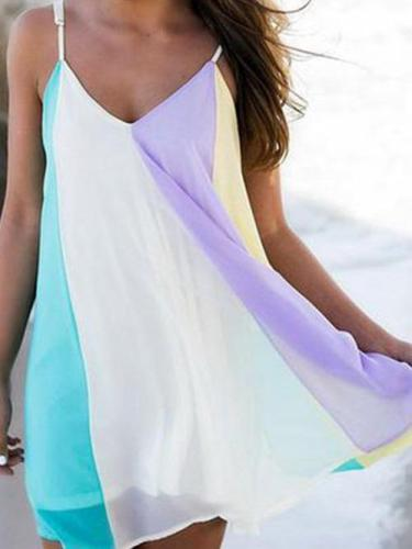 Rainbow Color Chiffon V-neck Sleeveless Mini Dresses