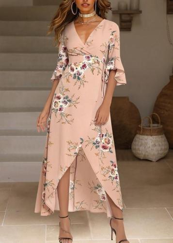 Bohemian Flower Print Side Slit Maxi Dress