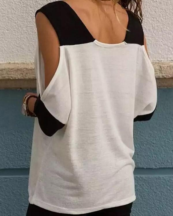 Casual Stitching Color Off Shoulder V-neck T-Shirt