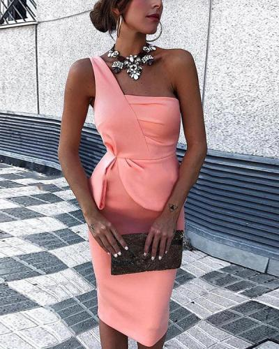 Sexy One Shoulder Sleeveless Skinny Midi Dress