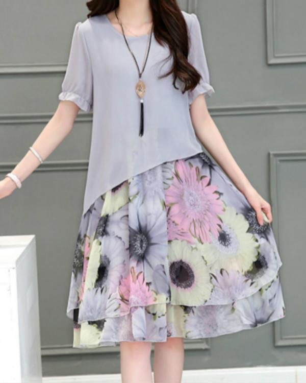 Gray Floral Short Sleeve Midi A-line Dress