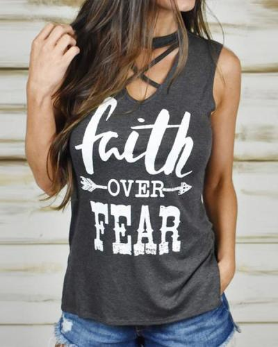 Irregular Letter Print Hollow Tank Tops