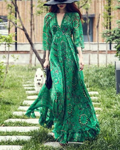 Green Deep V-Neck Printed Bohemian Maxi Dress