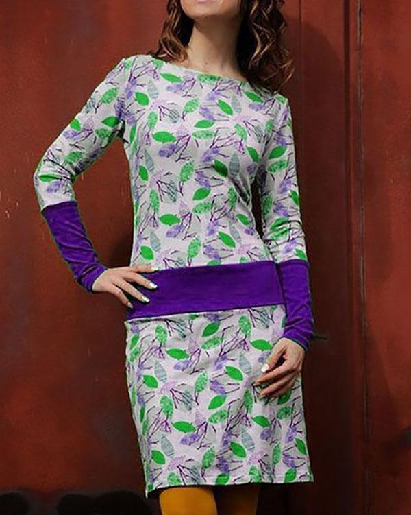 Slim Printed Stitching Long-Sleeve Dress