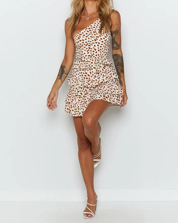 Fashion One Shoulder Strap Cake Mini Dress