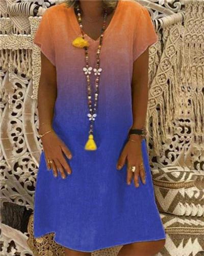 Vintage V Neck Gradient Color Holiday Chic Dresses