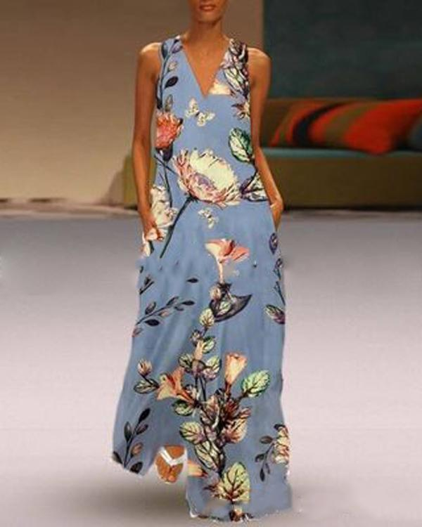 V Neck Casual Sleeveless Floral Printed Maxi Dresses