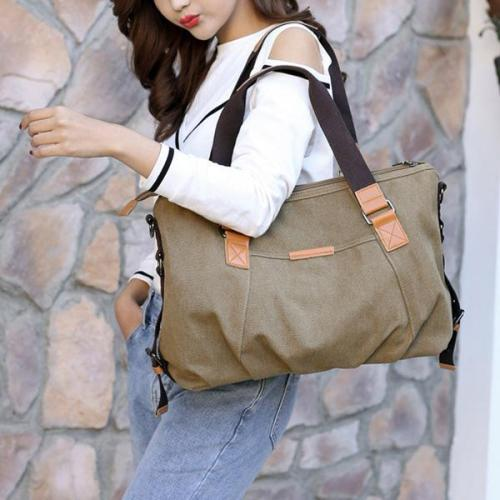 Women Canvas Solid Crossbody Bag Leisure Large Capacity Handbag