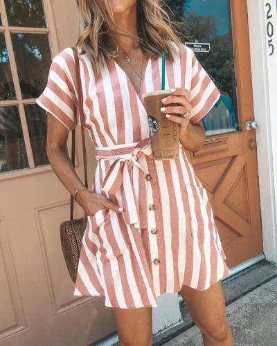 Women's Sexy V Neck Basic Striped Summer Mini Dress