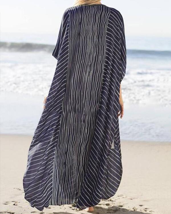 Irregular Stripe Loose Maxi Dress For Women