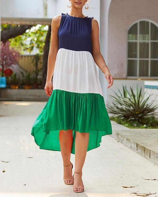 Color Block Irregular Sleeveless Midi Dress