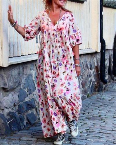 Casual V Neck Printed Summer Holiday Daily Fashion Maxi Dresses