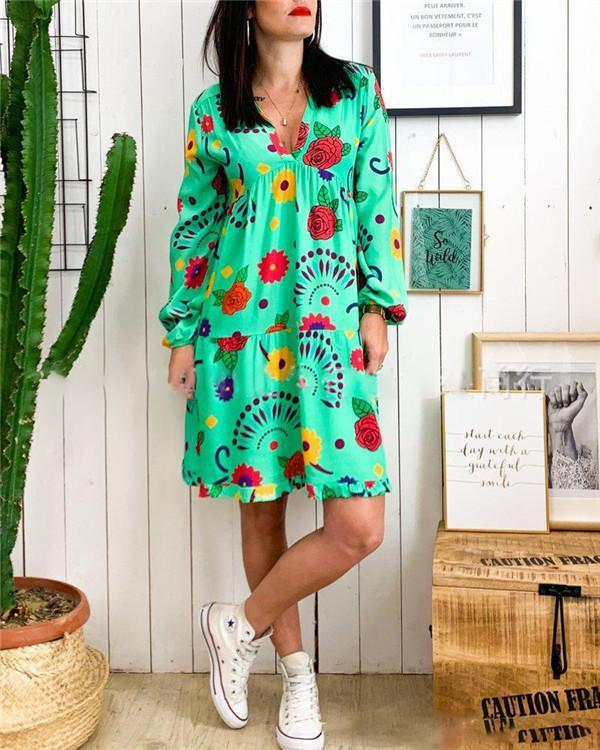 Floral Printed Long Sleeve Bohemian Women Mini Dresses